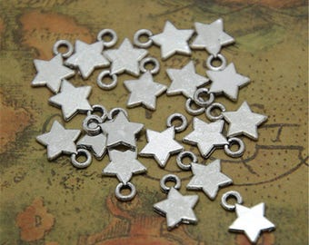 100pcs Silver tone Star Charms Pendant   11mm ASD0044