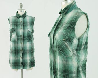 Vintage Plaid SILK Tank Top - 90s Grunge Button Up Flannel Collared Shirt Top- Sleeveless Green Button Down Blouse - Size Small to Medium