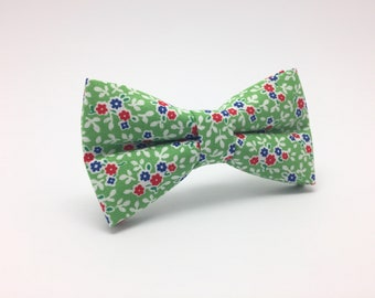 Kids Green Floral Bow Tie, boys bow ties, baby bow ties, bow ties for Boys, kids bow ties, ring bearer bow tie