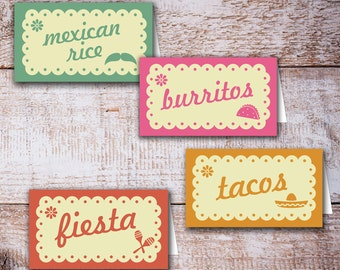 Blank Fiesta Table Tents, Buffet Tents, Food Tents, Cinco de Mayo Party Supplies, Mexican Theme Party Instant download