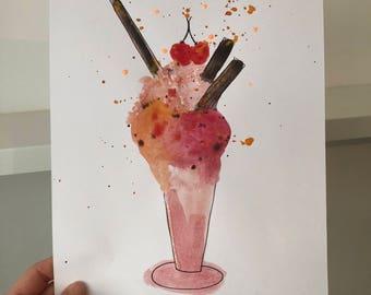 Ice Cream Sundae Print