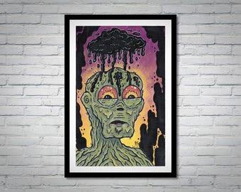 Monster Art - Macabre - Fantasy Creature Art - Weird Strange Painting - Outsider Lowbrow - Ink Cloud