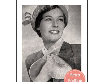 1950s Cravat Knitting Pattern - PDF Instant Download - Marple scarf