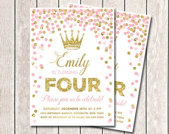 Princess invitations etsy any age pink gold birthday invitation princess filmwisefo