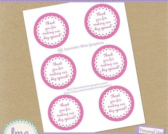 Pink Printable Round Thank You Tags, Special Day, Baby Shower, Party Tags, Birthday Labels, Gift Tags, Cupcake Topper-Instant Download