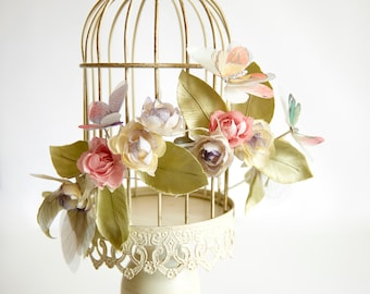 Bridal hand dyed silk flower with organza butterfly crown, headpiece - Flower headband, Ready to Ship