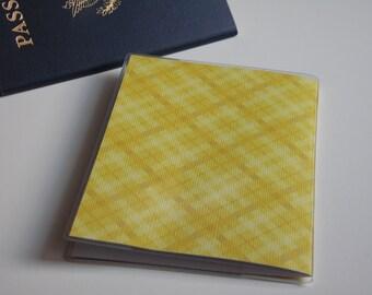 Passport Cover, Yellow Plaid. Passport  Sleeve, Case, Holder