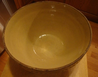 Large Yellow Wear Mixing Bowl with Brown Ring