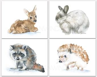 Woodland Watercolor Animal Art Prints Nursery Childrens Room Set of 4 Deer Raccoon Hedgehog Bunny Landscape HORIZONTAL Orientation
