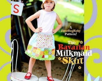 INSTANT DOWNLOAD Reversible Apron Skirt PDF Sewing Pattern The Bavarian Milkmaid Skirt by ZozoBugBaby