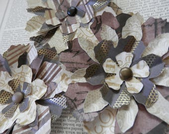 PAPER FLOWERS set/3 Forest Browns Cream Metallic Gold