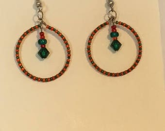 Round Christmas Earrings