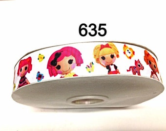 """3 or 5 yard - 1"""" Lalaloopsy and Friends on White Grosgrain Ribbon Hair bow Craft Supply"""