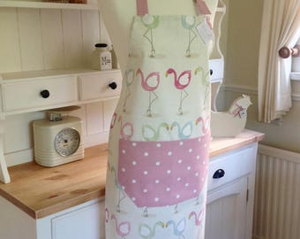 Apron, Flamingos Apron, Ladies Full Apron, Adjustable Apron, Pink Dotty Apron, Womens Apron, Kitchen, Baking, Gift for Her, Pretty Flamingos