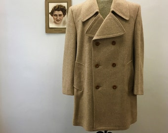 Men's camel brown peacoat * Vintage 1980s double-breasted coat * 80s boiled wool peacoat