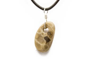 Petoskey Stone Necklace Matte Petoskey Stone Jewelry Pendant Michigan Coral Fossil Beach Stone Leather Silver Gift for Women Her ET220