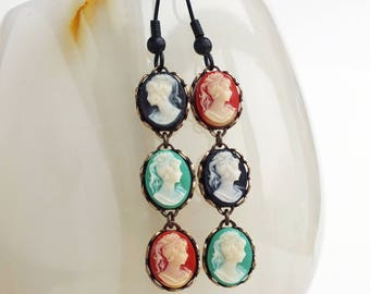 Victorian Cameo Earrings Small Vintage Cameo Dangles Victorian Cameo Jewelry