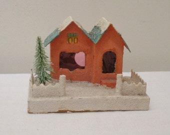 Vintage Cardboard Peach Turquoise Putz House with Fence