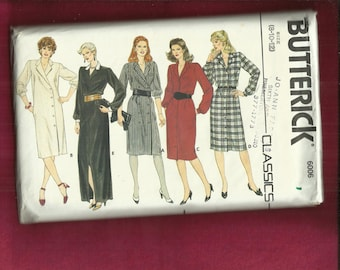 1980's Butterick 6006 Double or Single Breated Shirt Dresses Size 8..10..12