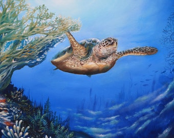 Original Oil Painting,Sea Turtle  20 x 24 gallery wrapped canvas