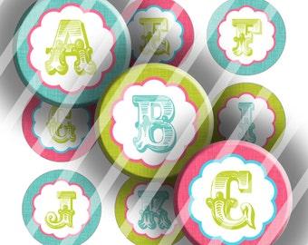 "Alphabet Initials Digital Collage Sheet - Romantic Initials - 1"" Digital Bottle Cap Images"