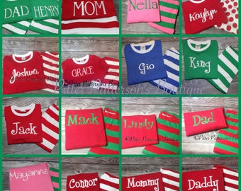 Valentines Day personalized monogrammed Spring, Easter, Christmas pajamas, Family Christmas Pajamas, Family photo props, Christmas Pajamas