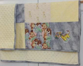 Handmade embroidered yellow giraffe baby blanket
