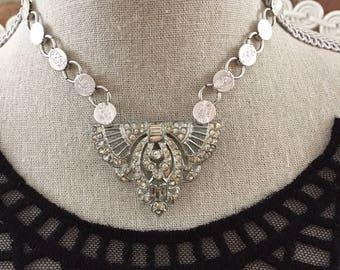 Vintage / Antique Assemblage Silvertone Bookchain and Art Deco Rhinestone Fur Clip  Pendant Choker Necklace Wedding