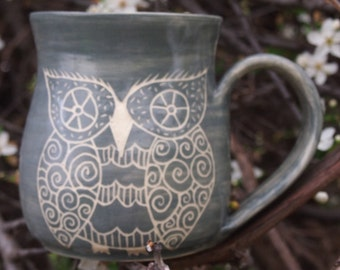 unique coffee mug, Handmade coffee mug, owl mug, grey owl stoneware, patchwork owls,patterned owls, stoneware mug
