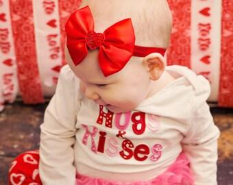 Girls Valentine's Day Sequin Heart Satin Bow Baby Headband - February Baby Shower