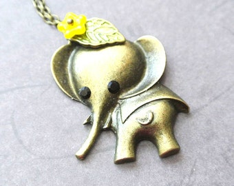 Elephant necklace gift for her-Elephant jewelry-Animal necklace-Lucky elephant necklace-Friendship necklace-Baby elephant-Cute elephant