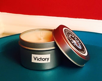 """Hot chocolate cocoa Scent soy candle """"Victory"""" 4oz Soy Viking Candle Travel Tin Shieldmaiden Candleworks"""