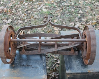 Rusty Push Mower Body -  Vintage Defiance Lawn Mower - Iron Wheels - No Handle or Roller