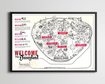 "1963 DISNEYLAND Park Map POSTER! (24"" x 36"" or smaller) - Fantasyland - Tomorrowland - Frontierland - Adventureland - Disney - Vintage"