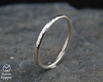 14k White Gold-filled hammered ring, thin ring,  1.6 mm ring, made at your size. Skinny ring, thin ring, stacking ring.