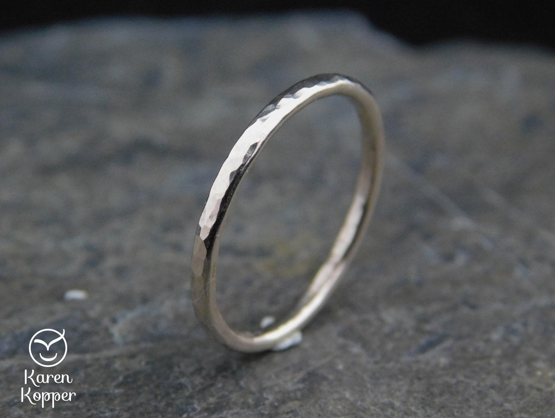 Dünnen Ring in Weißgold gefüllt 14 k Gold gefüllt gehämmert