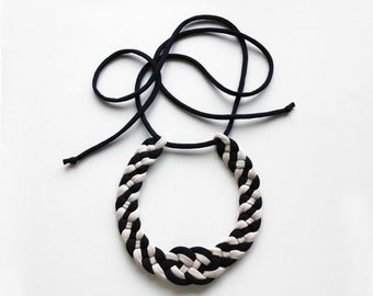 knot choker, textile choker, sailor necklace - S A L E - bicolor knot necklace - handmade in jersey fabric