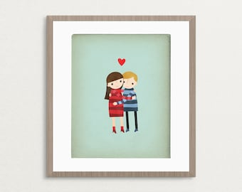Hugs - Couple - Customizable 8x10 Archival Art Print