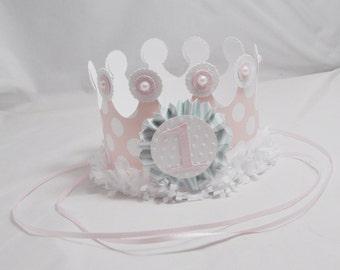Shabby Chic Crown, Girl First Birthday, Shabby Chic Birthday, Birthday Headband, Photo Prop, First Birthday Crown, Birthday Hat, Pink Aqua