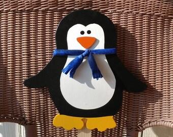 Penguin Wooden yard art stake sign