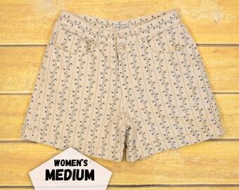 High Waisted Shorts 80s Floral Shorts Mom Jean Shorts Medium High Waist Flower Pattern Arizona Jean Company
