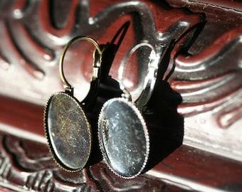 48 Earring Bezels PLUS 48 Clear Glass Cabs 13X18 Leverback Brass Oval Earring Tray Oval Earring Bezel Earring Settings