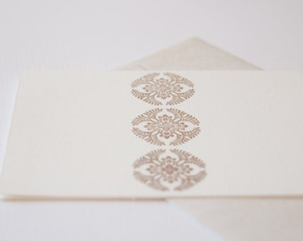 Letter Press Card - Japanese Pattern : Wisteria