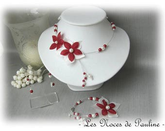Burgundy and ivory wedding flower satin Julia 3 piece set