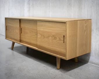 Solid White Oak Media Console/ Credenza/ Sideboard/ Cabinet