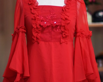 Mama Vintage Red Evening Hand-sewn Embroideried Chiffon Dress Gown Bell Sleeves (Size XS/S)