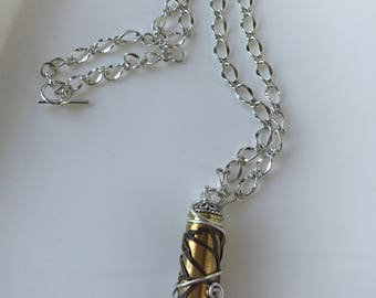 Filigree Covered Bullet Casing Pendant Necklace