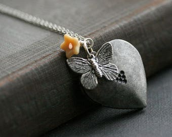 Heart Locket Necklace , Butterfly Necklace ,  Flower Locket , Photo Locket ,  Giift for Her, Gift for Wife, FREE SHIPPING