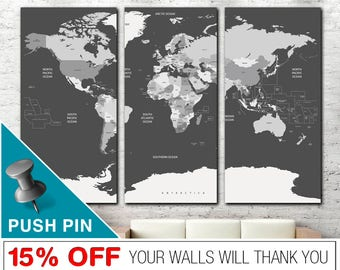 Grey world map etsy world map print gray world map world map push pin world map wall gumiabroncs Image collections