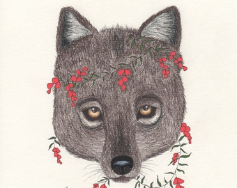 Wolf art print, animal drawing, red flowers